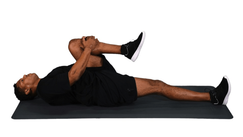 Knee to chest to avoid lower back pain