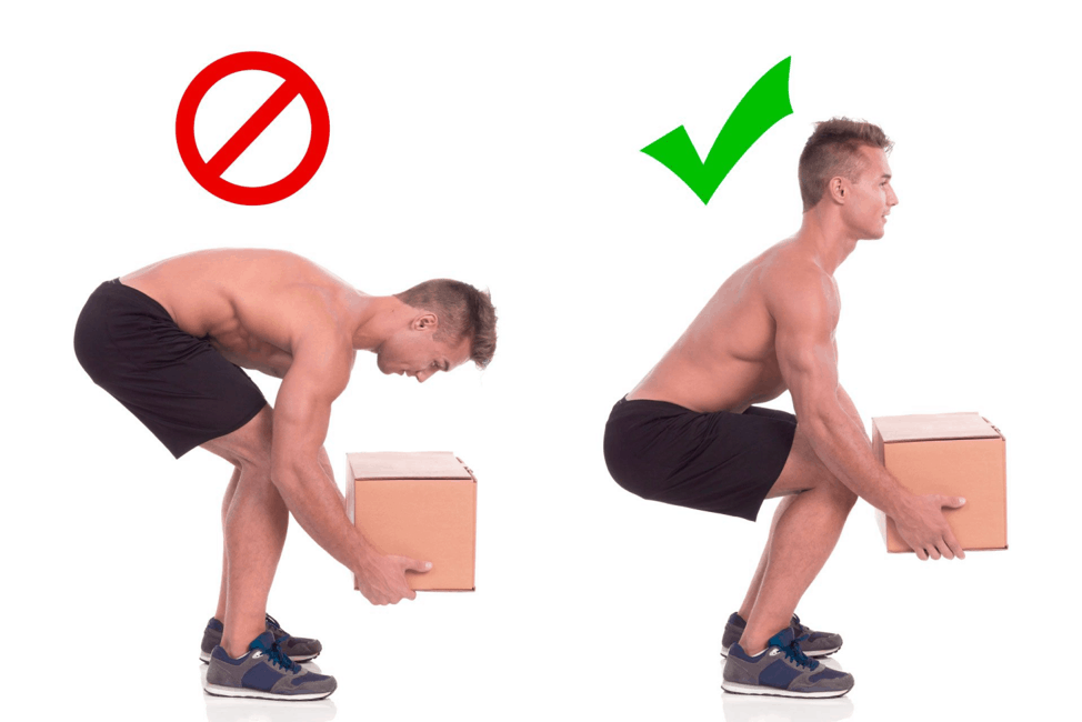 Lift properly to avoid lower back pain